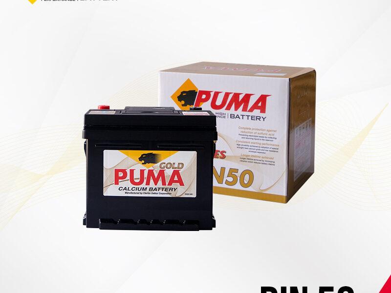 แบตเตอรี่รถยนต์ PUMA รุ่น DIN50 (55016) setbox