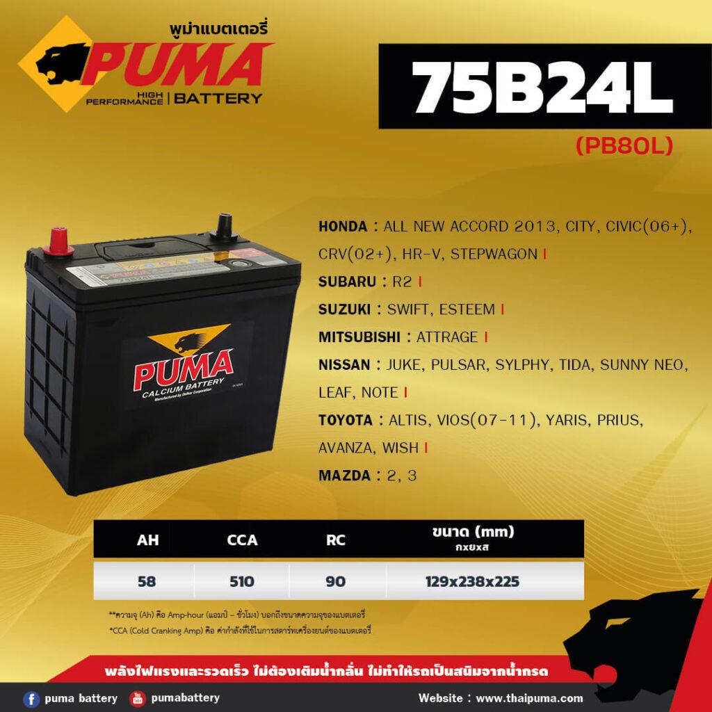 แบตเตอรี่ PUMA 75B24L