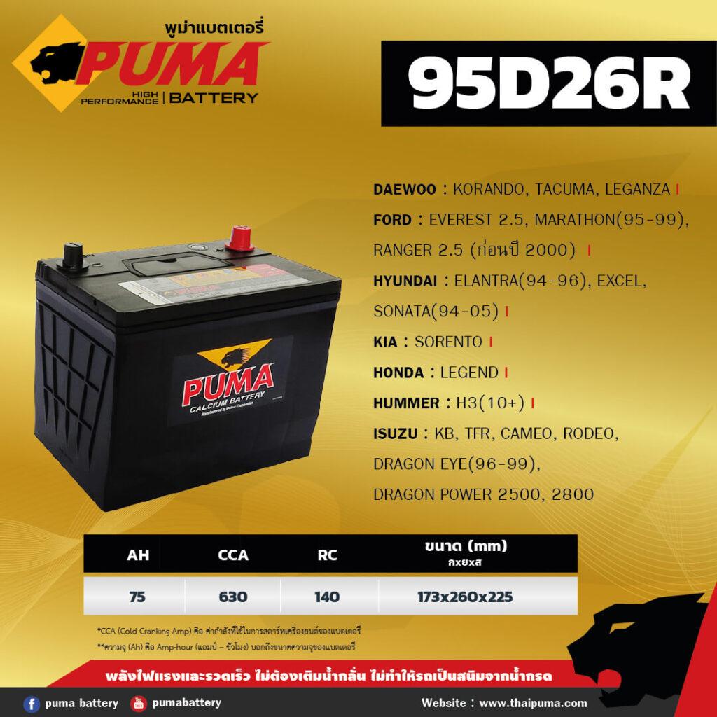 แบตเตอรี่ PUMA 95D26R