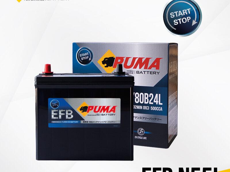 แบตเตอรี่รถยนต์ PUMA EFB N55L Setbox